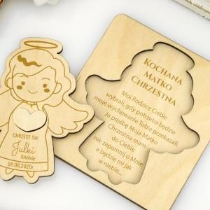 Aniołek z grawerem podziękowań dla matki chrzestnej na chrzciny