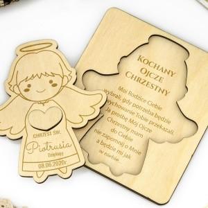 drewniany aniołek z podziękowaniami na prezent dla ojca chrzestnego