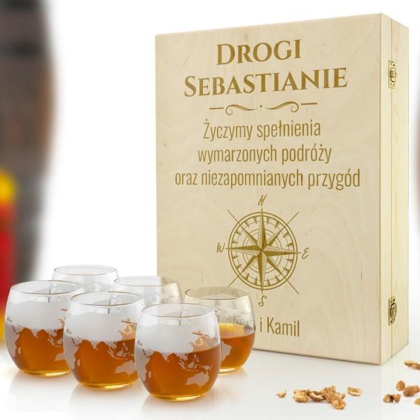 Zestaw szklanek do whisky globus w drewnianym pudełku z grawerem