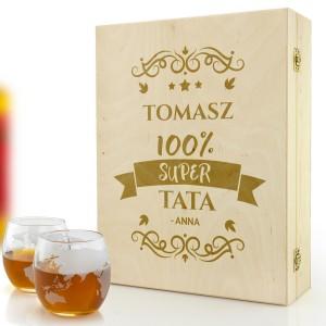 grawerowana skrzynka ze szklankami do whisky na prezent dla taty