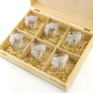 szklanki do whisky grawerowane globus w skrzynce z drewna