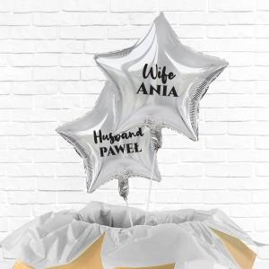poczta balonowa -  balony z nadrukiem imion dla żony i męża