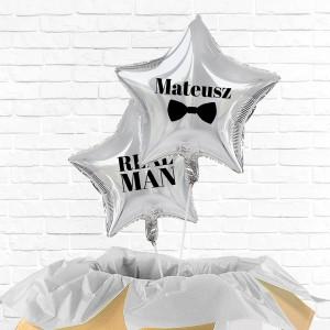balony z helem gwiazda z nadrukiem