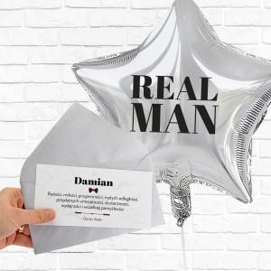 Bilecik z życzeniami, balon z nadrukiem real men