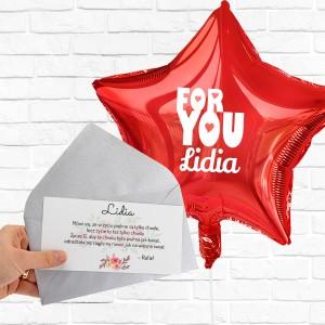 Balon czerwony z helem z bilecikiem z życzeniami