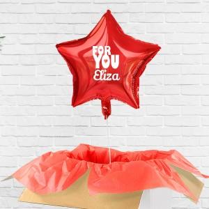 Balon czerwony z flizeliną z helem