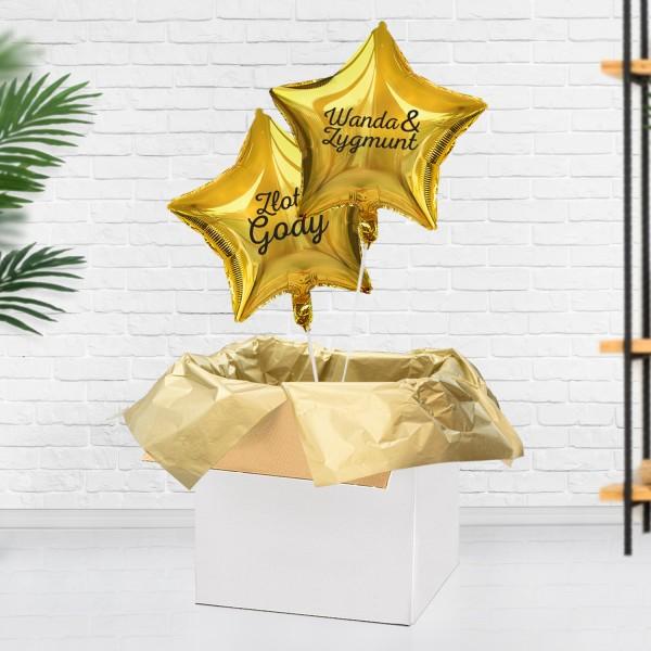 Złote balony z helem na prezent na 50 rocznicę ślubu