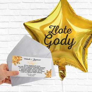 Balon z nadrukiem i bilecik z życzeniami na 50 rocznicę ślubu