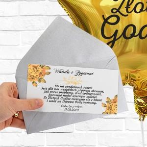 Balon na 50 rocznicę ślubu z bilecikiem z personalizowanymi życzeniami