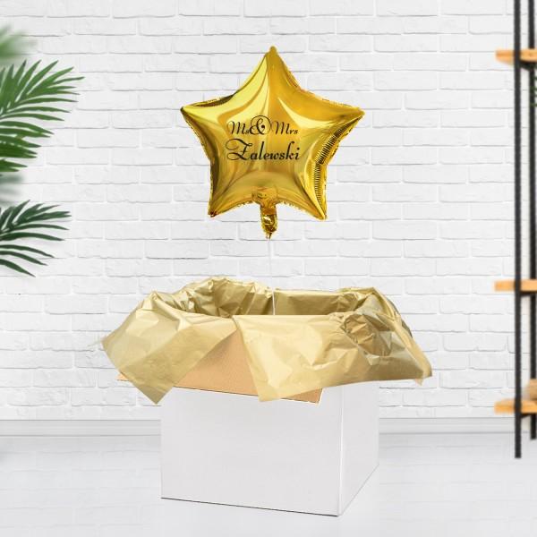 Złoty balonik z helem na prezent na ślub dla młodej pary