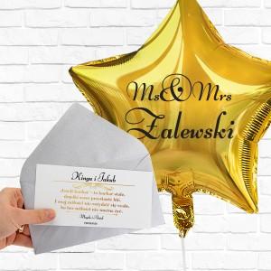 Złoty balon z nadrukiem nazwiska i bilecik z nadrukiem