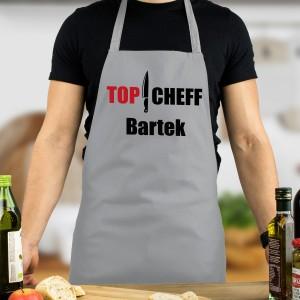Szary fartuszek z nadrukiem Top Chef
