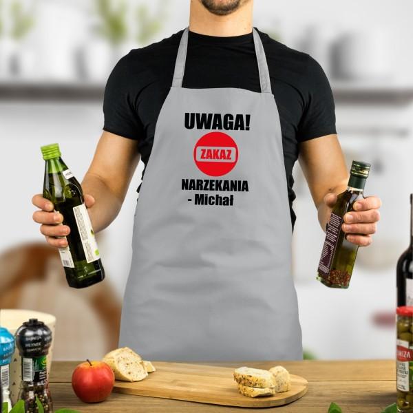 fartuch szary męski kuchenny z nadrukiem imienia i napisu zakaz narzekania