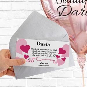 Balon z imieniem i bilecik z nadrukiem życzeń