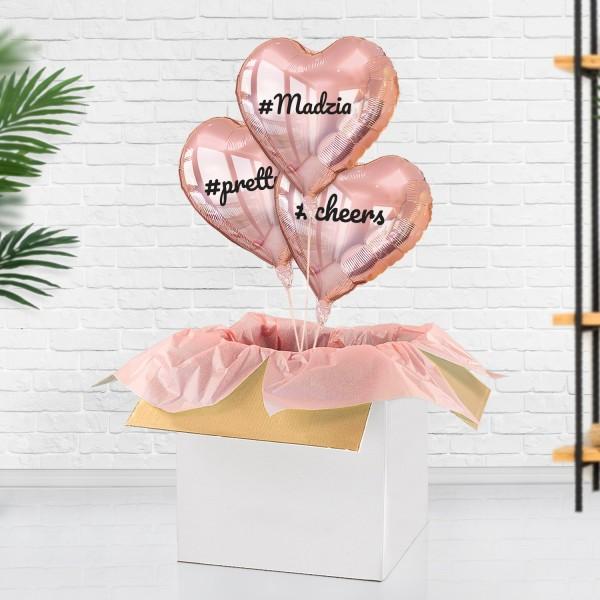 Baloniki z helem z nadrukiem jako niespodzianka dla kobiety