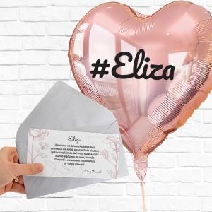 balon z nadrukiem imienia i bilecik z dedykacja