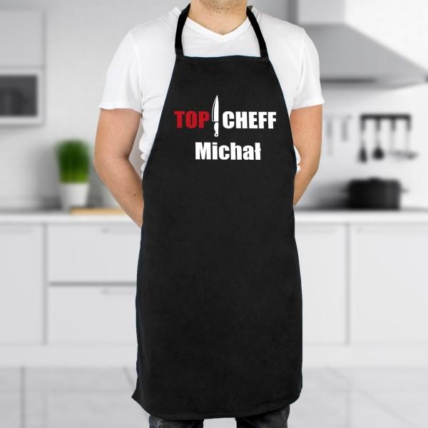 Czarny fartuch kuchenny męski z personalizacją