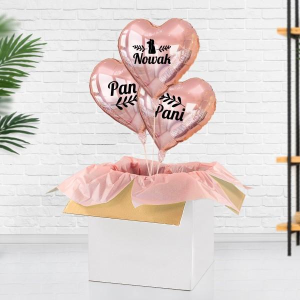 Balony z nadrukiem i życzeniami na prezent ślubny