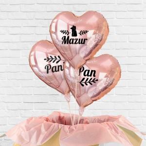 Balony z helem serca 3 sztuki na prezent dla pary