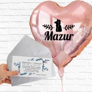 Balon z helem serce i życzenia na prezent ślubny