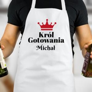 Fartuch męski biały z napisem król gotowania