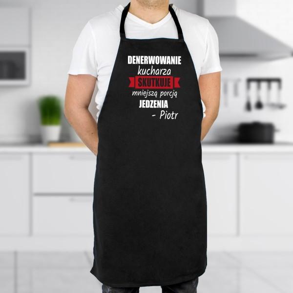 Fartuszek męski kuchenny czarny z napisem nie denerwuj kucharza + imię