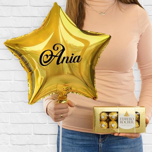 Balon z nadrukiem imienia z helem i czekoladkami na prezent dla kobiety