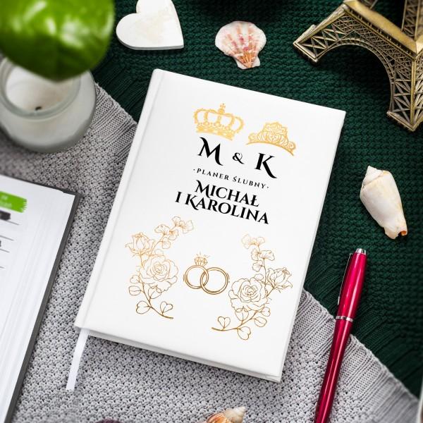 Planer ślubny dla pary z nadrukiem imion i inicjałów
