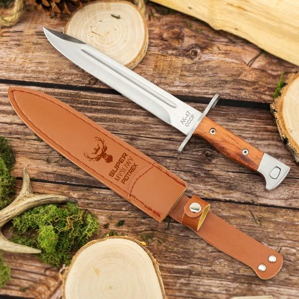 Nóż bagnet w pokrowcu z grawerem imienia na prezent dla myśliwego