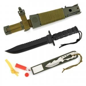 nóż wojskowy czarny z procą, pokrowcem i akcesoriami