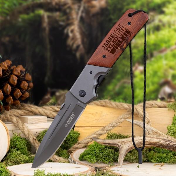 nóż składany z grawerem na prezent dla wędkarza