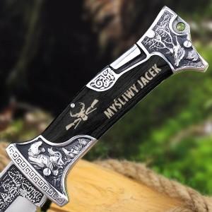 składany nóż myśliwski z personalizowanym grawerem