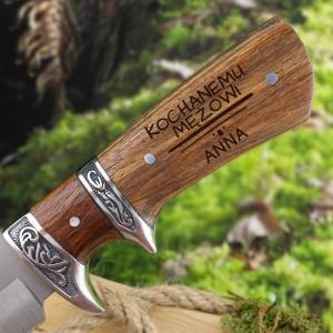 Nóż myśliwski z grawerem imienia i dedykacji dla męża