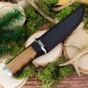 nóż myśliwski kandar z grawerem imienia na prezent w czarnym pokrowcu