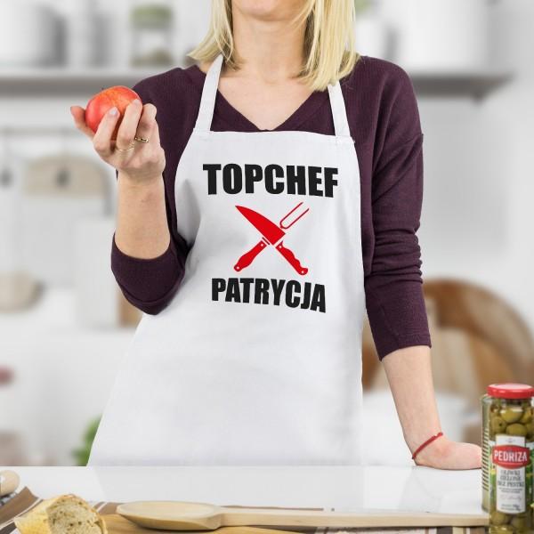 topchef fartuszek kuchenny biały z imieniem