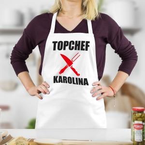 topchef fartuszek kuchenny biały z imieniem na prezent dla niej