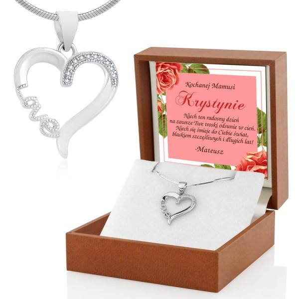srebrny naszyjnik serce z cyrkoniami w etui z dedykacją