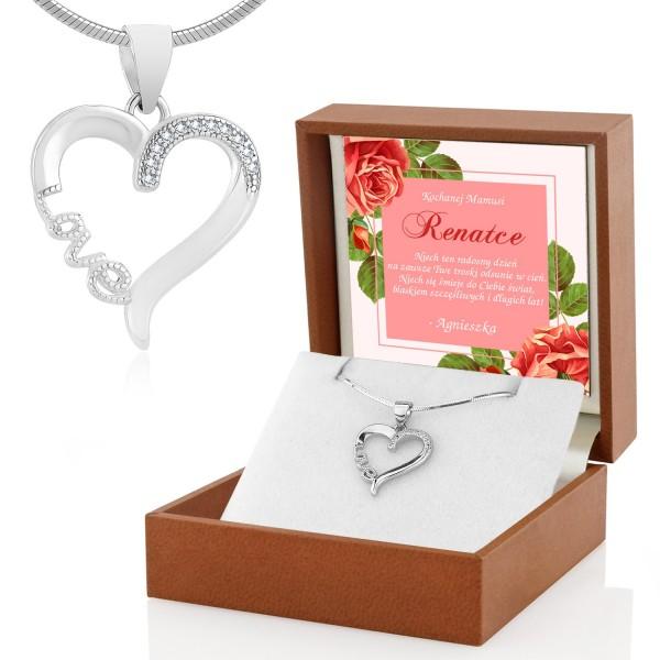 Naszyjnik srebrny z nadrukiem dedykacji na prezent dla mamy
