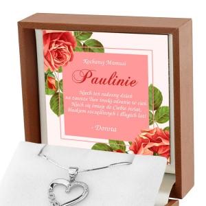 Naszyjnik srebrny z nadrukiem dedykacji na prezent dla mamy na dzień matki