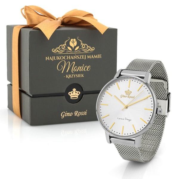 zegarek gino rossi srebrny damski z dedykacją dla mamy