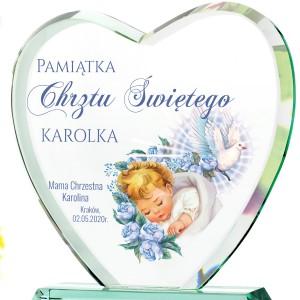statuetka szklana z nadrukiem dedykacji pamiątka chrztu dla chłopca