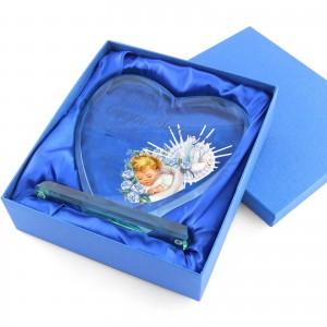 statuetka szklana pamiątka chrztu dla chłopca w etui