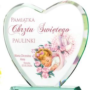 Serce statuetka na chrzest na prezent dla dziewczynki z nadrukiem