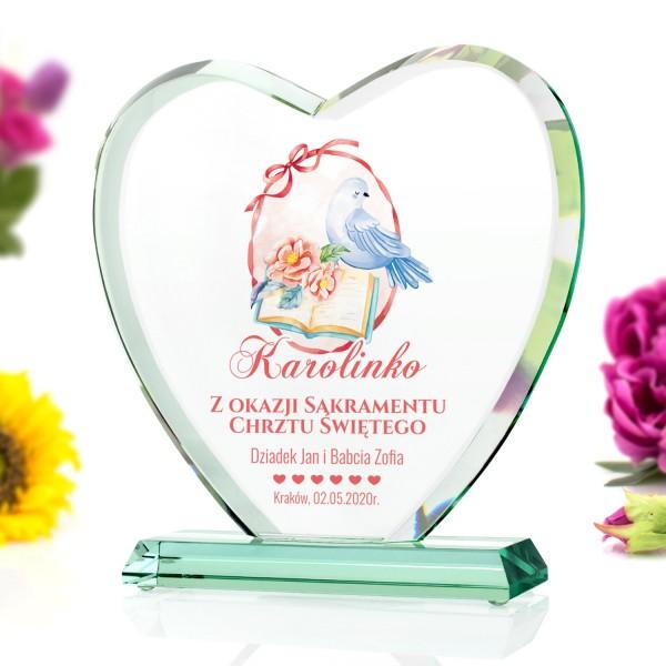statuetka serce szklane na pamiątkę chrztu dla dziewczynki