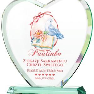 statuetka serce szklane z nadrukiem na pamiątkę chrztu dla dziewczynki