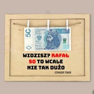 ramka na pieniądze  z nadrukiem na prezent na 50 urodziny