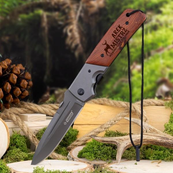 składany nóż myśliwski z grawerem na prezent dla myśliwego