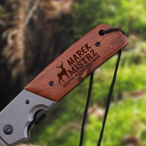 składany nóż myśliwski z grawerem imienia na prezent dla myśliwego