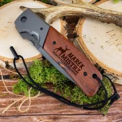 składany nóż myśliwski z grawerem na prezent dla myśliwego - oryginalny