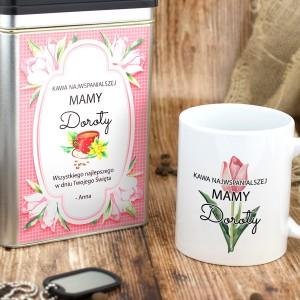 komplet puszka na kawę i kubek z imieniem dla mamy na prezent